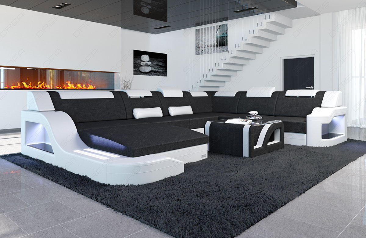wohnlandschaft palermo xxl form stoffsofa design led beleuchtung materialmix ebay. Black Bedroom Furniture Sets. Home Design Ideas