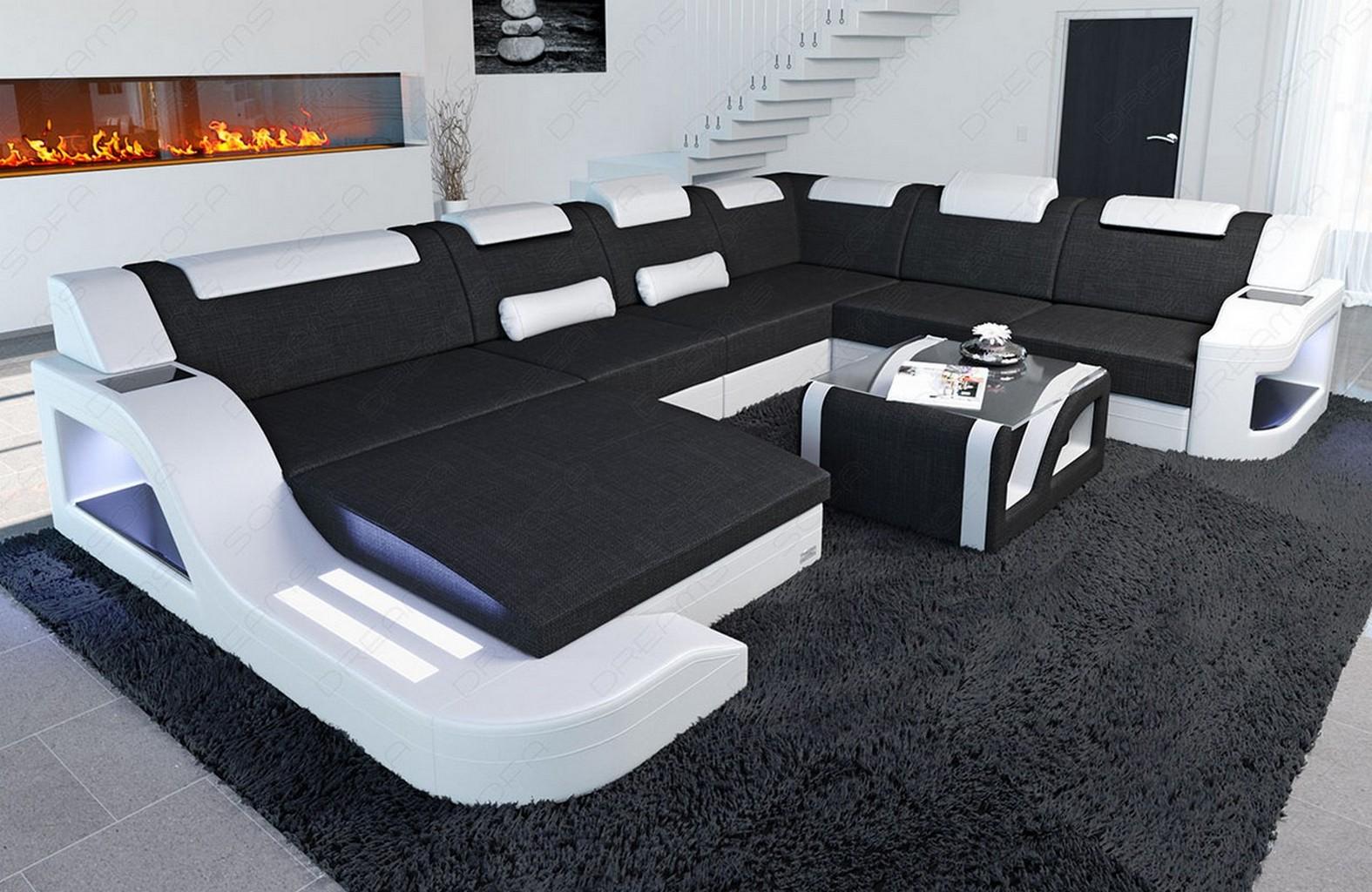 Wohnlandschaft palermo xxl form stoffsofa design led for Wohnlandschaft 7686 exklusiv