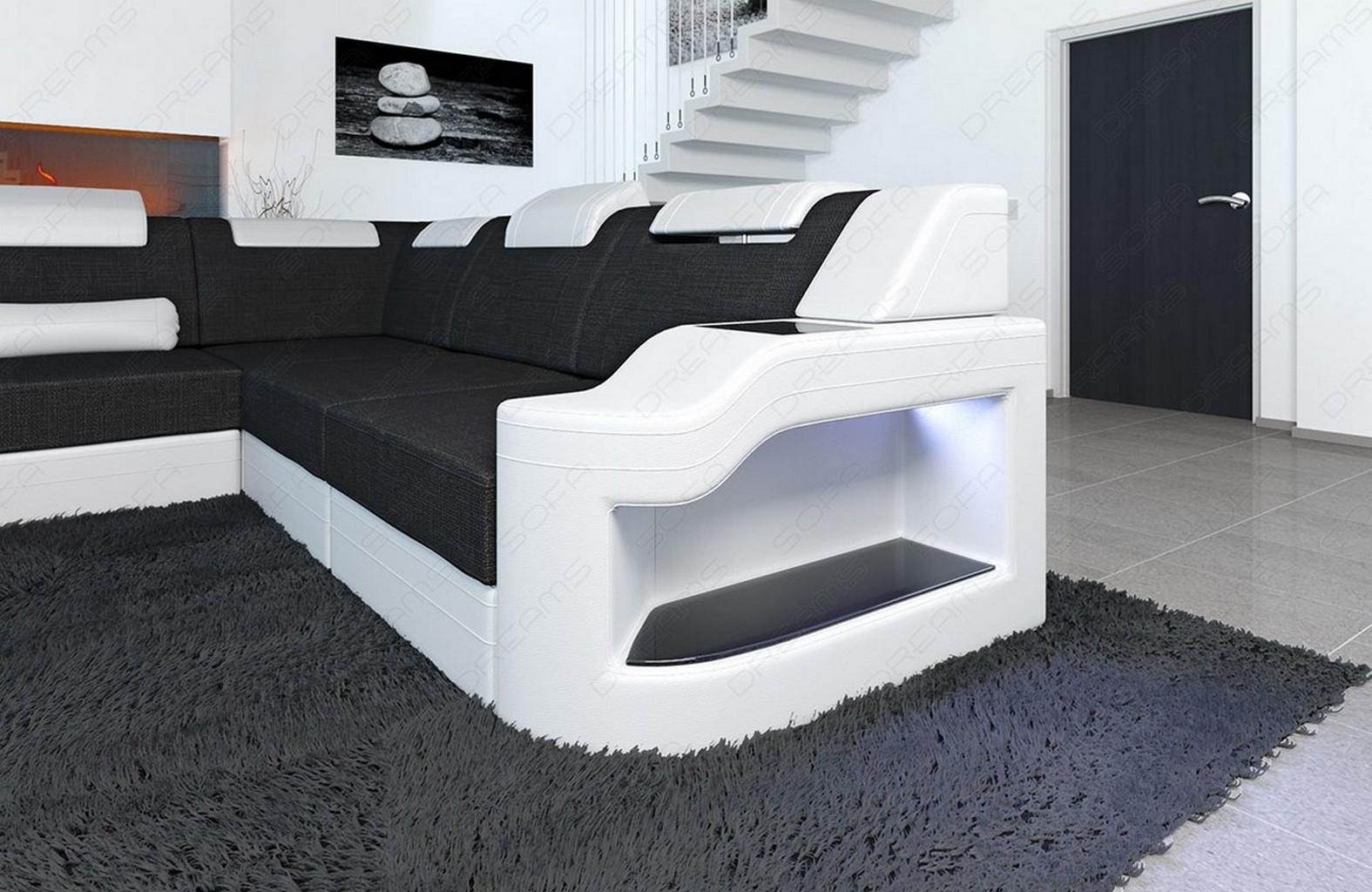 wohnlandschaft palermo xxl new look stoff mix mit led. Black Bedroom Furniture Sets. Home Design Ideas
