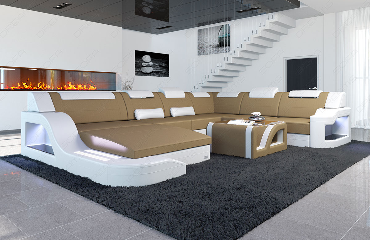 stoff couch garnitur wohnlandschaft luxus palermo xxl sandbeige led beleuchtung ebay. Black Bedroom Furniture Sets. Home Design Ideas