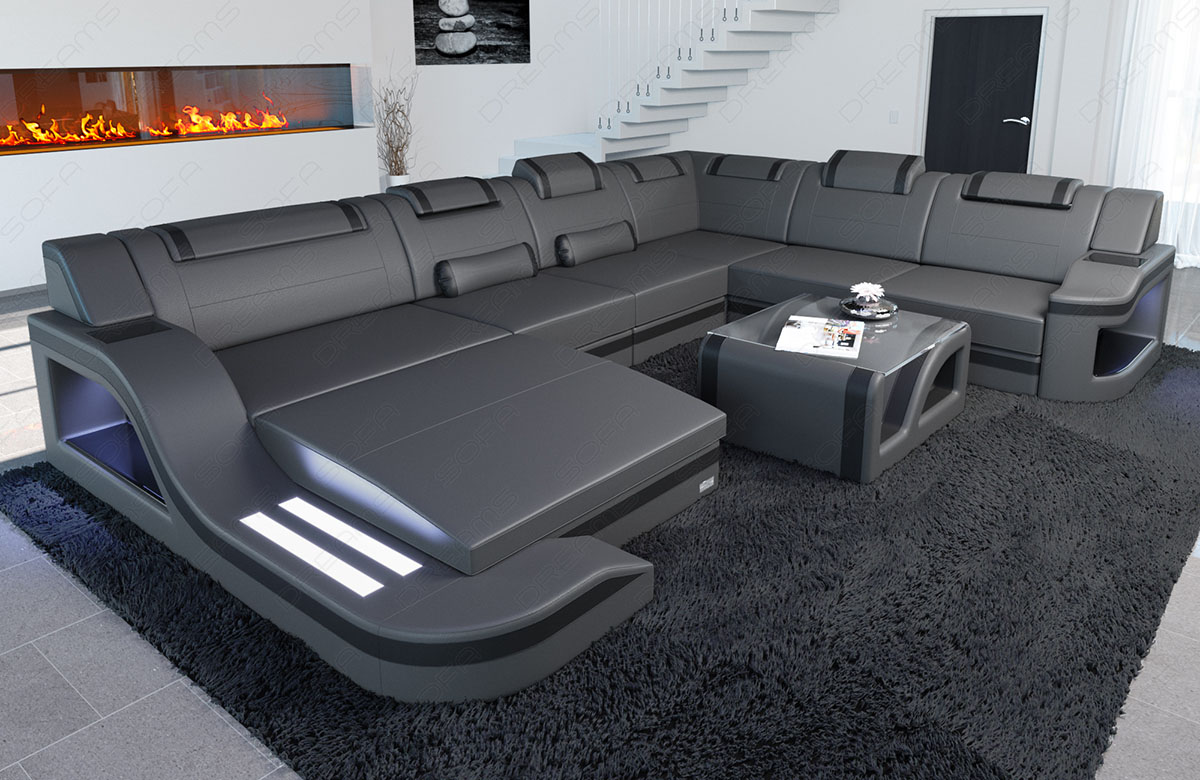 interior design leather palermo xxl with led lighting. Black Bedroom Furniture Sets. Home Design Ideas