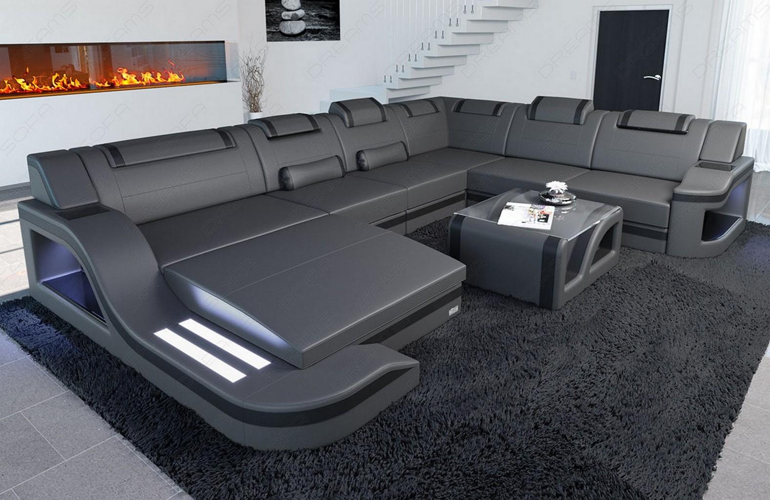 interior design leather palermo xxl with led lighting. Black Bedroom Furniture Sets. Home Design Ideas