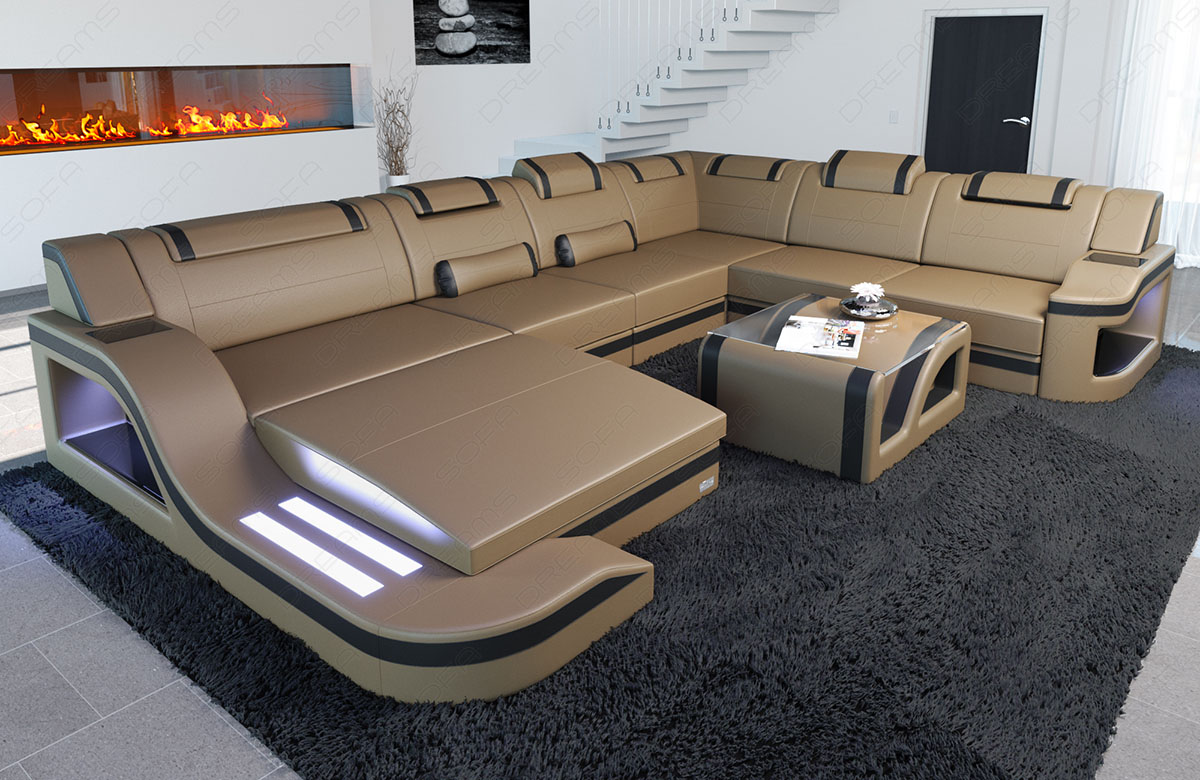 Big Leather Sectional Sofa Palermo Xl Corner Sofa With Led Lights Designer Couch