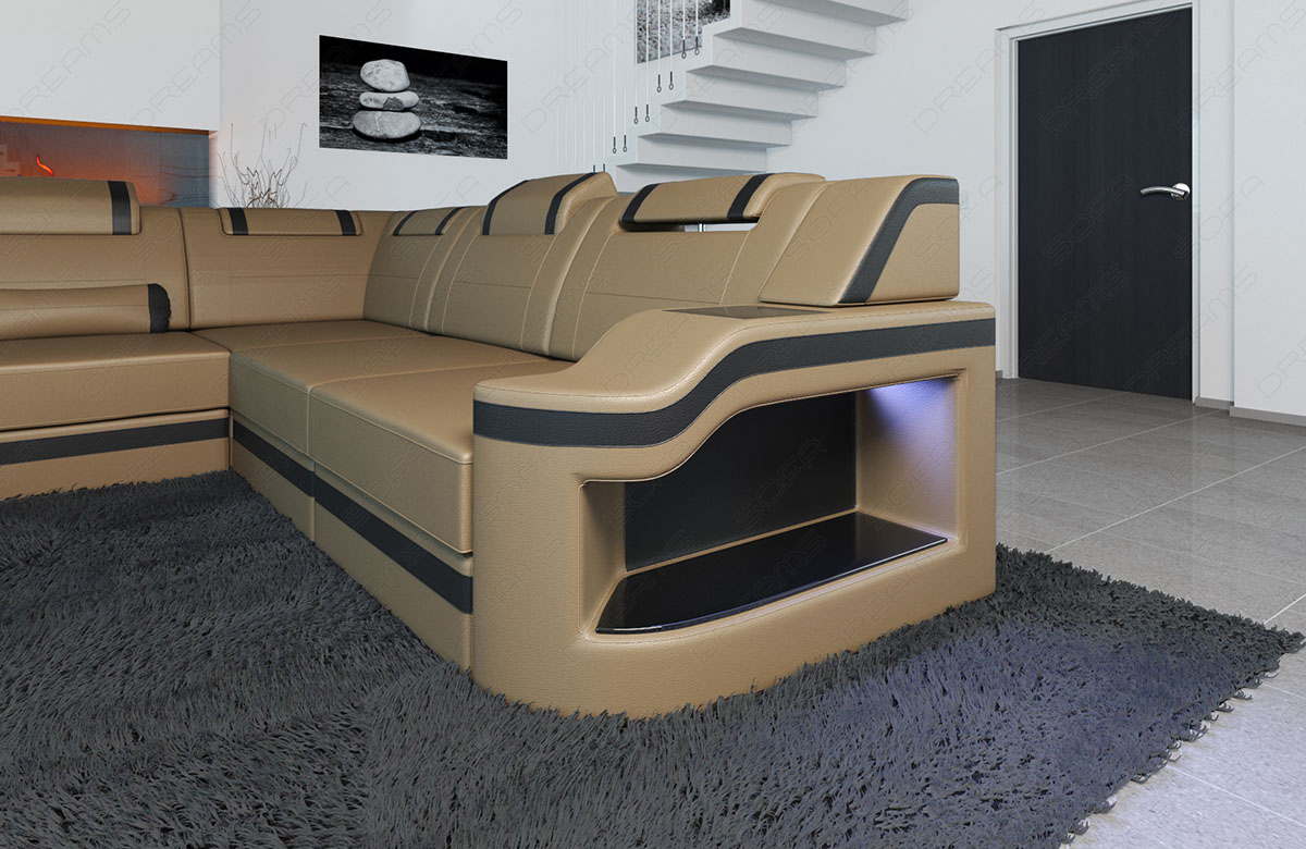 wohnlandschaft leder palermo xxl led licht ottomane couch sandbeige schwarz ebay. Black Bedroom Furniture Sets. Home Design Ideas