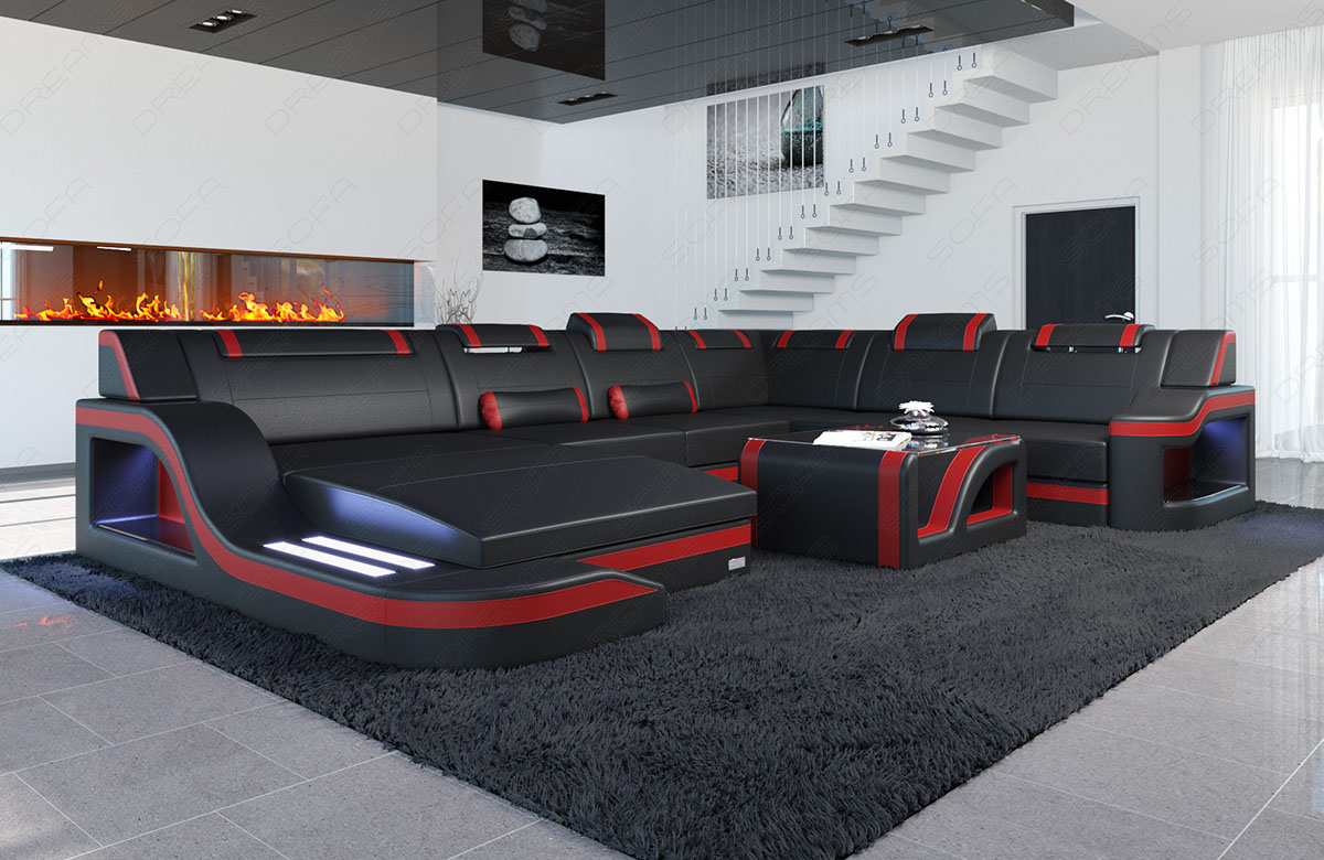 sofa palermo xxl mit led beleuchtung leder designer wohnlandschaft schwarz rot ebay. Black Bedroom Furniture Sets. Home Design Ideas