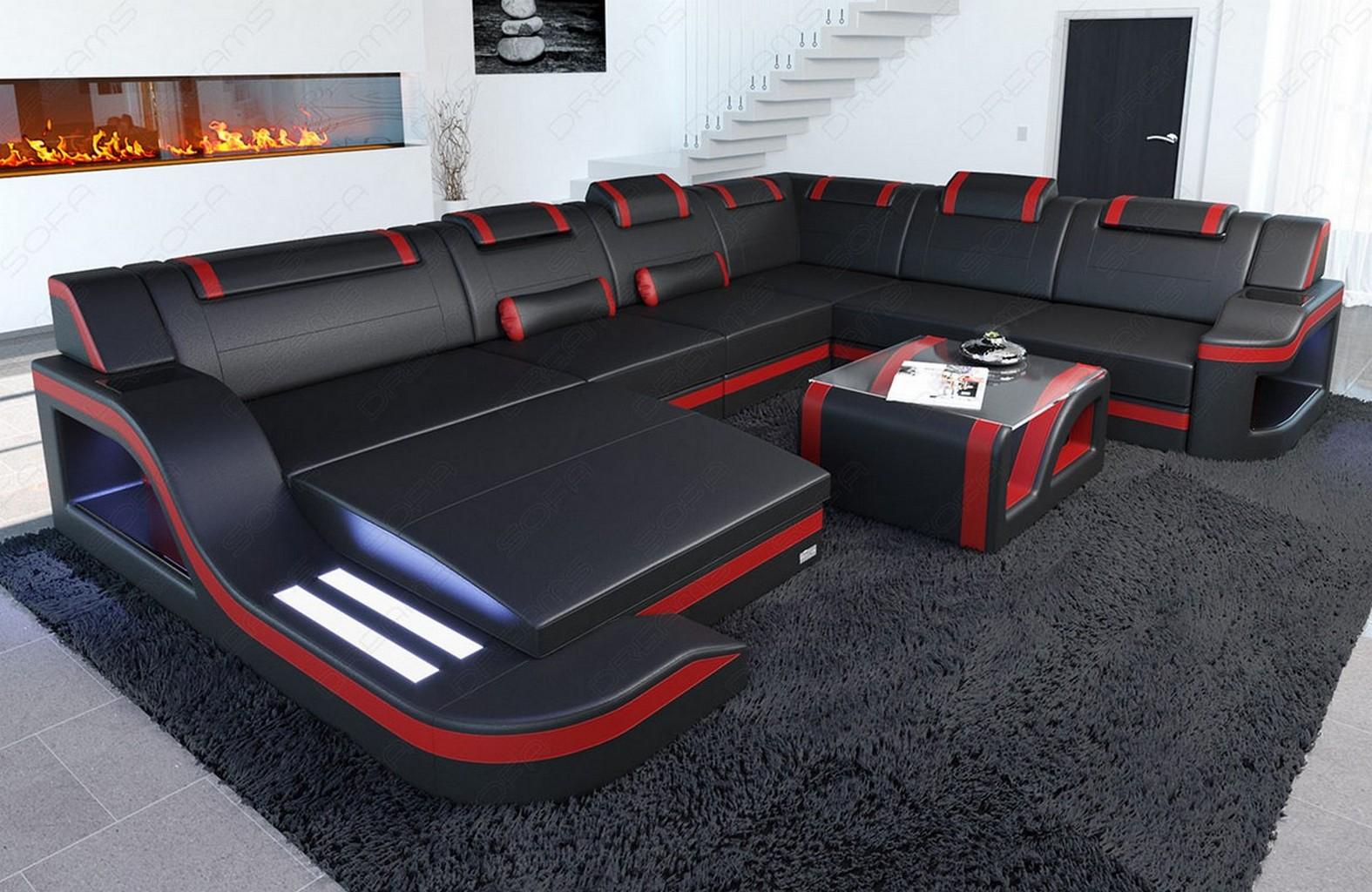 sofa palermo xxl mit led beleuchtung leder wohnlandschaft schwarz rot ebay. Black Bedroom Furniture Sets. Home Design Ideas