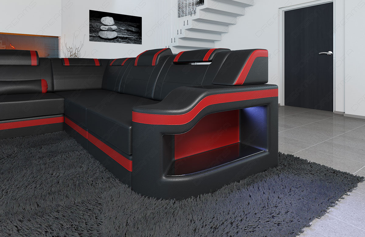 big leather sectional sofa palermo xl corner sofa with led. Black Bedroom Furniture Sets. Home Design Ideas