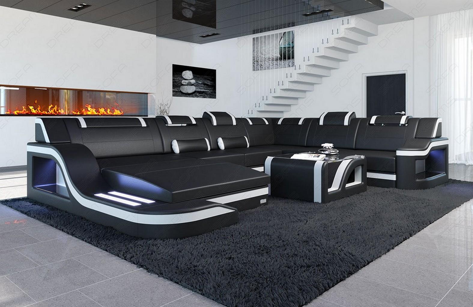 Wohnlandschaft design  Big Leather Sectional Sofa PALERMO XL Corner Sofa with LED Lights ...