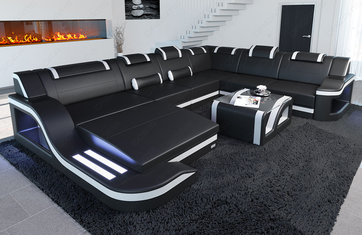 Megacouch Interior Design Palermo Xxl Incl Led Lighting Black White Ebay