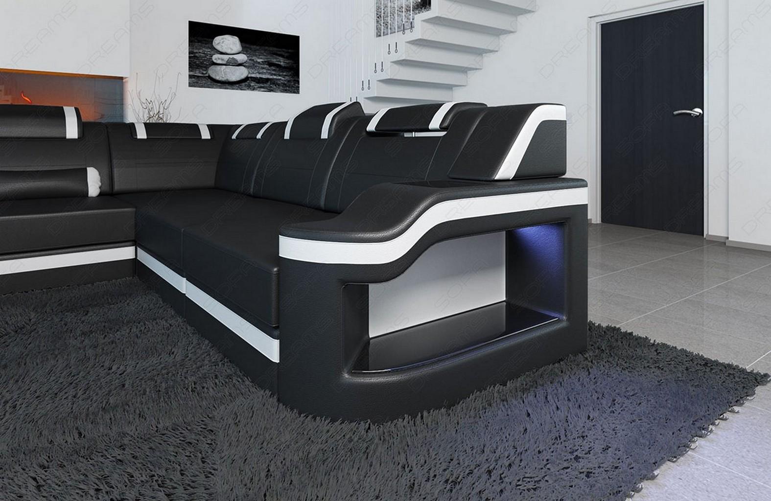 megacouch wohnlandschaft palermo xxl inkl led beleuchtung schwarz weiss ebay. Black Bedroom Furniture Sets. Home Design Ideas