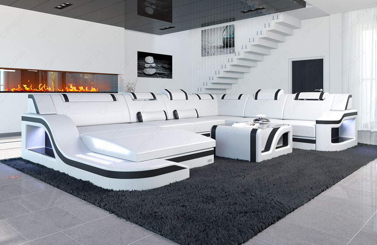 big leather sectional sofa palermo xl corner sofa with led lights designer couch ebay. Black Bedroom Furniture Sets. Home Design Ideas