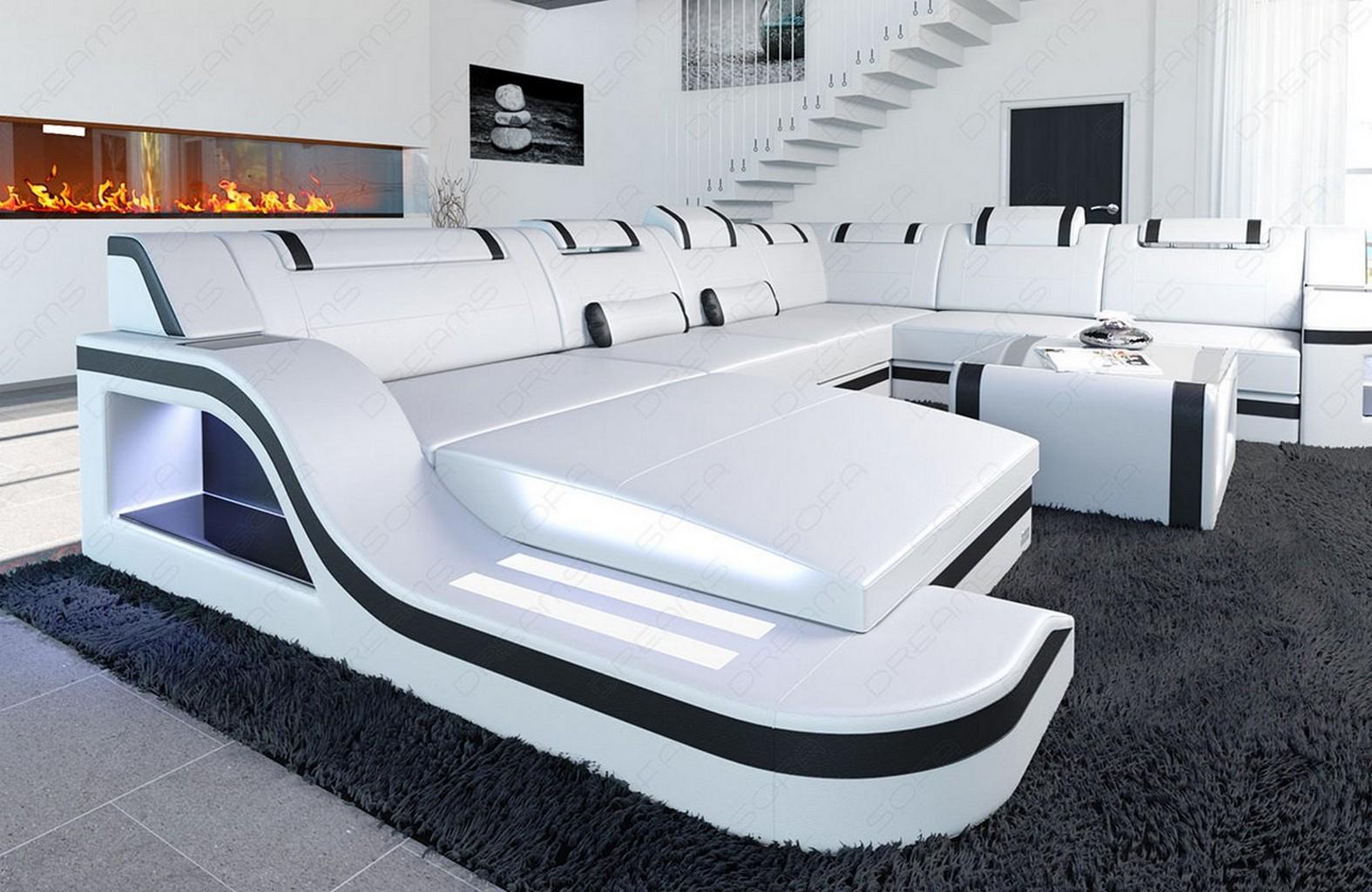 wohnlandschaft luxus palermo xxl mit led beleuchtung und ottomane weiss schwarz ebay. Black Bedroom Furniture Sets. Home Design Ideas