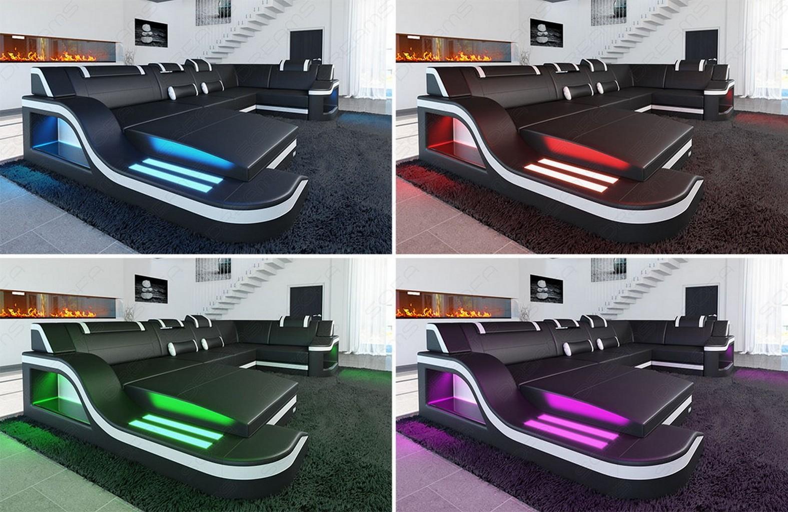 design sectional sofa palermo l shaped leather corner sofa with led lights ebay. Black Bedroom Furniture Sets. Home Design Ideas