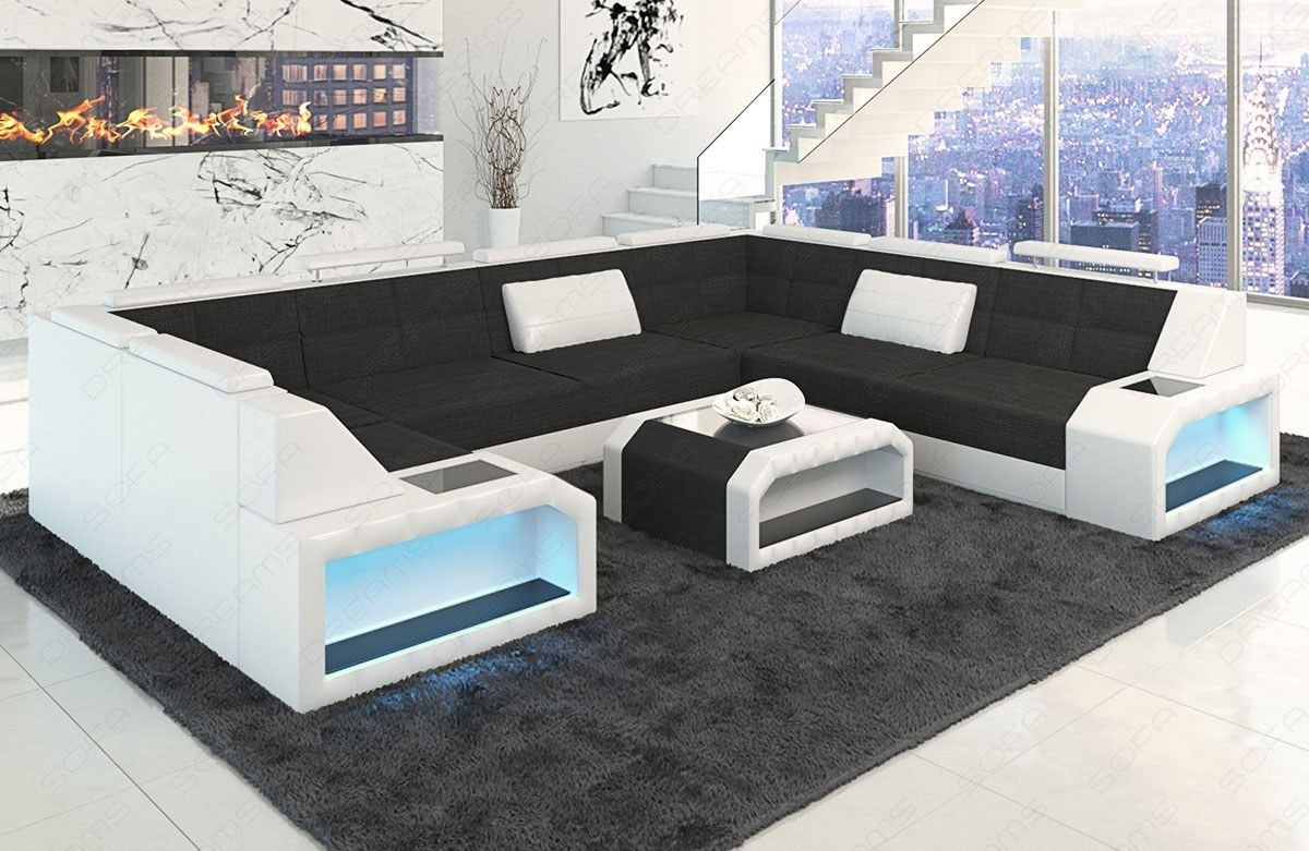 wohnlandschaft stoff materialmix sofa garnitur pesaro u. Black Bedroom Furniture Sets. Home Design Ideas