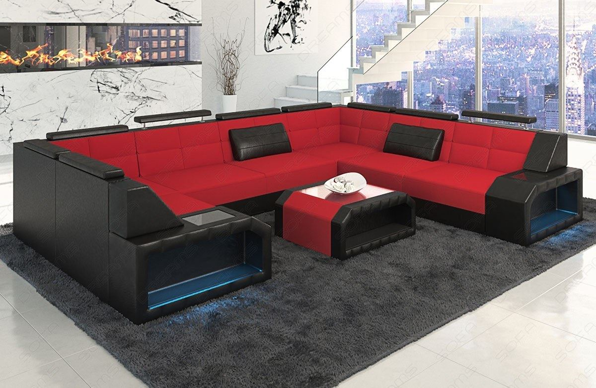 stoffsofa materialmix sofa garnitur pesaro u form rot mit led beleuchtung. Black Bedroom Furniture Sets. Home Design Ideas