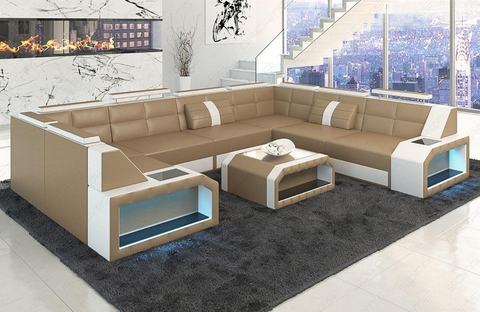leather sofa corner couch set pesaro xl u shaped led. Black Bedroom Furniture Sets. Home Design Ideas