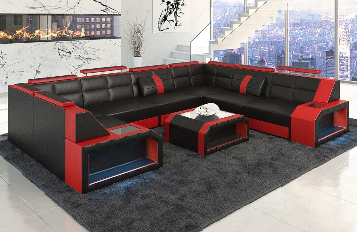 ledersofa eckcouch sofa garnitur pesaro xl u form led beleuchtung schwarz rot. Black Bedroom Furniture Sets. Home Design Ideas
