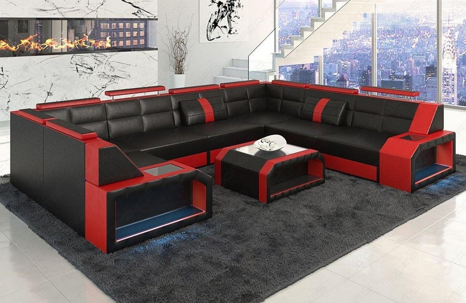 Ledersofa eckcouch sofa garnitur pesaro xl u form led for Wohnlandschaft rot schwarz