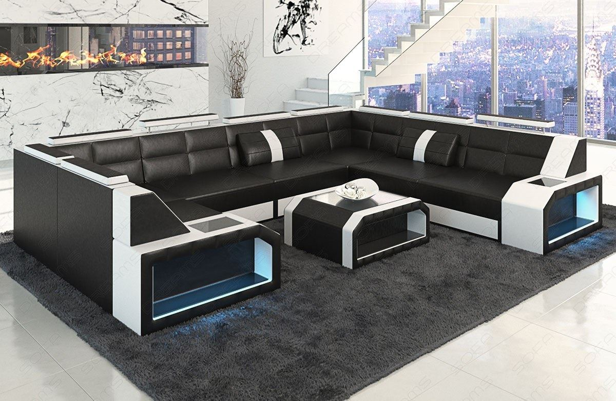 ledersofa eckcouch designersofa pesaro u form mit led beleuchtung luxus couch ebay. Black Bedroom Furniture Sets. Home Design Ideas