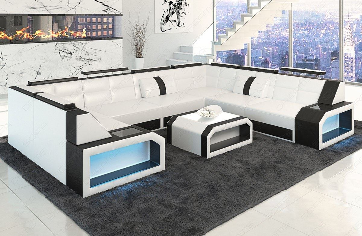 ledersofa eckcouch sofa garnitur pesaro u form led beleuchtung in wei schwarz ebay. Black Bedroom Furniture Sets. Home Design Ideas