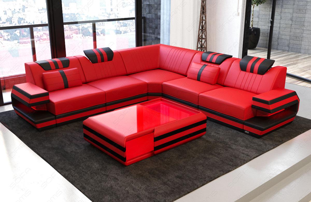 design sofa couch modern ragusa l form lounge ottoman ledercouch led beleuchtung ebay. Black Bedroom Furniture Sets. Home Design Ideas