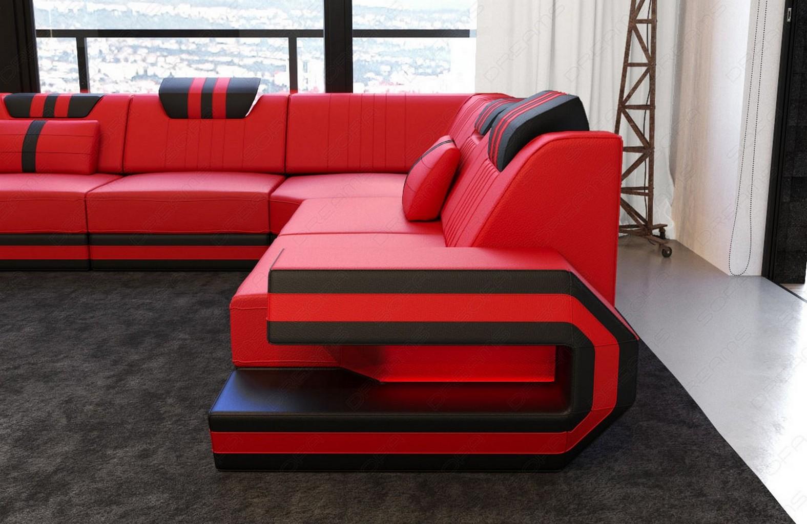 sofa luxury couch corner ragusa l form designer leather led lighting ebay