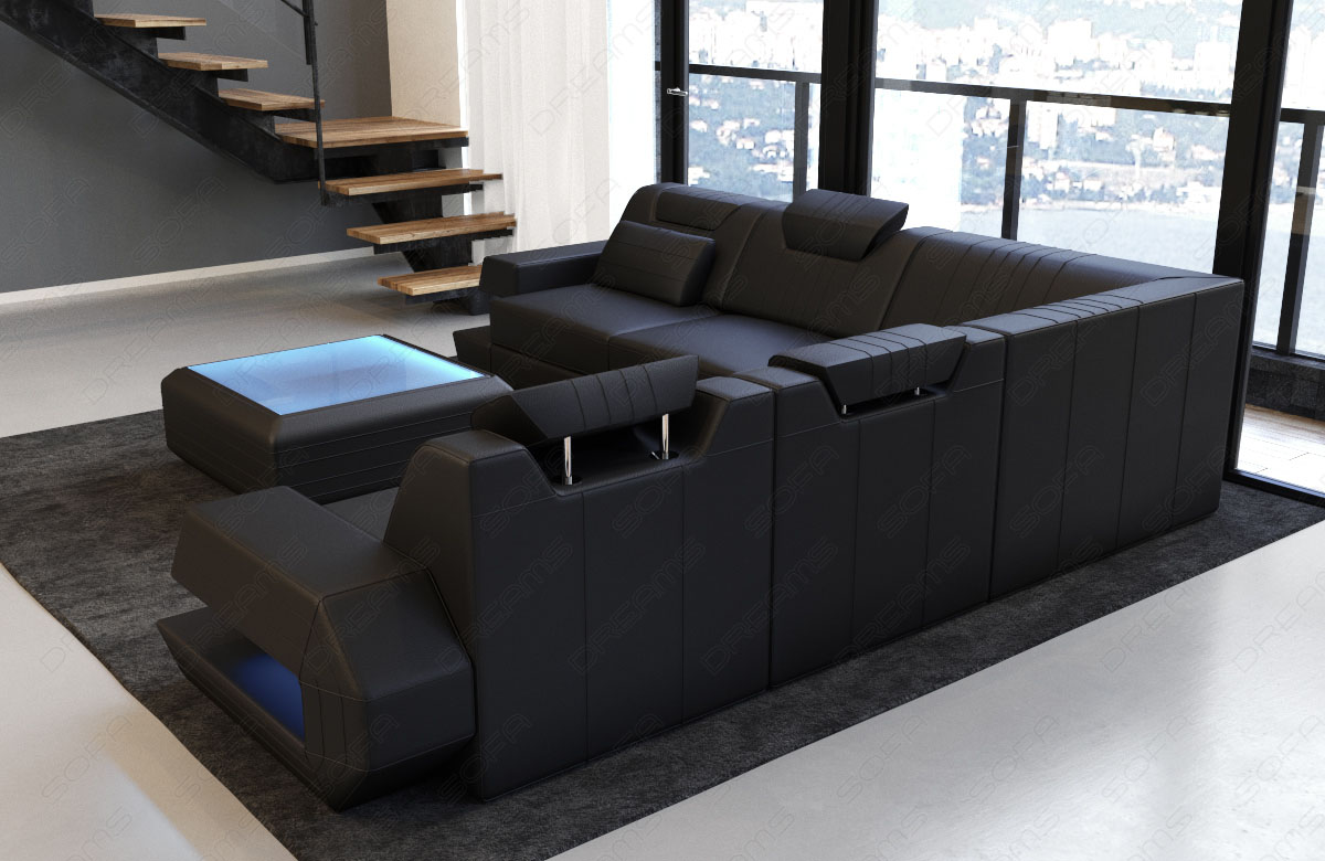design sofa couch modern ragusa l form lounge ottoman ledercouch led beleuchtung ebay