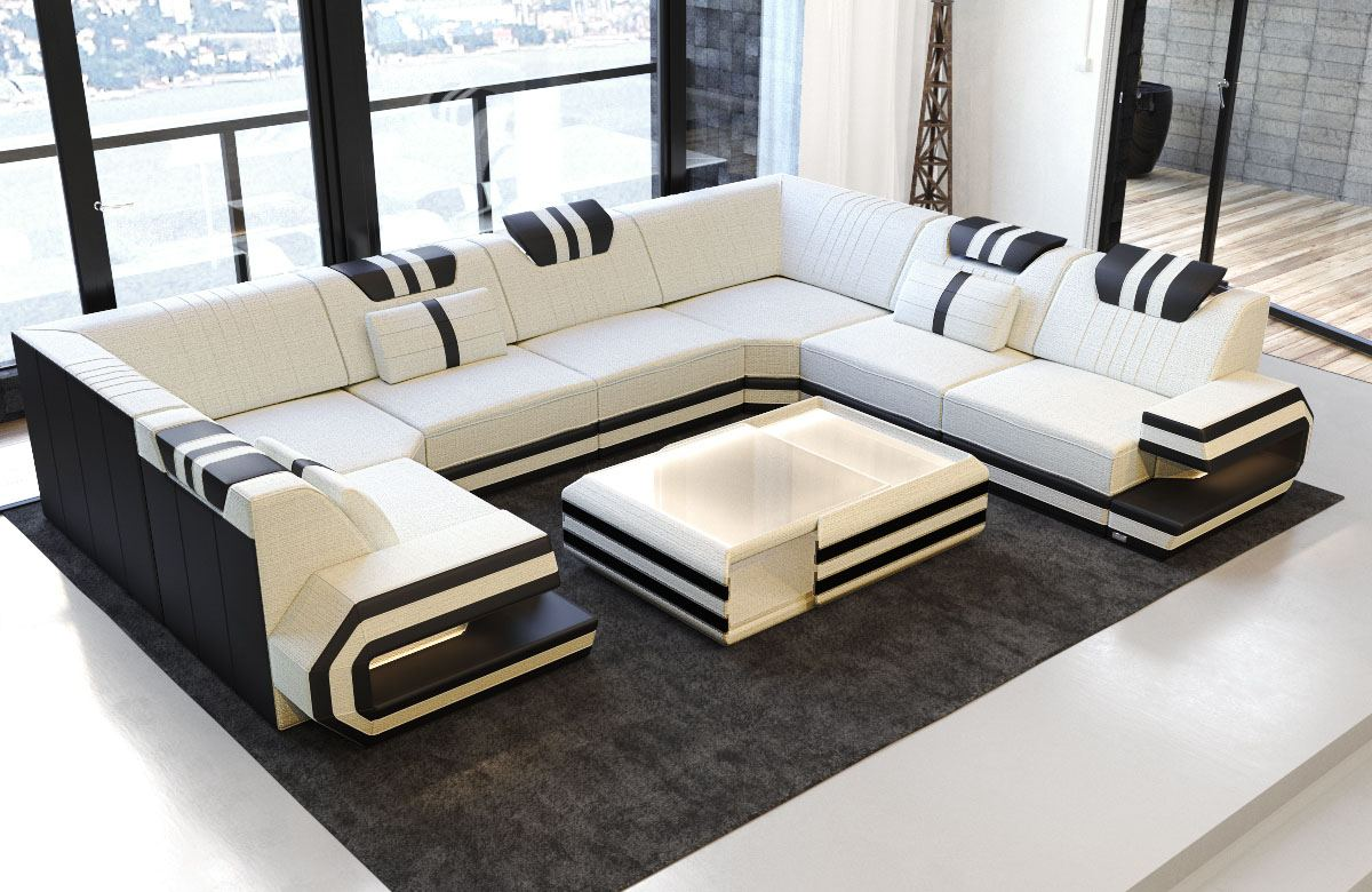 Stoff Wohnlandschaft Ragusa U Form Designer Couch Luxus Sofa Mit Led