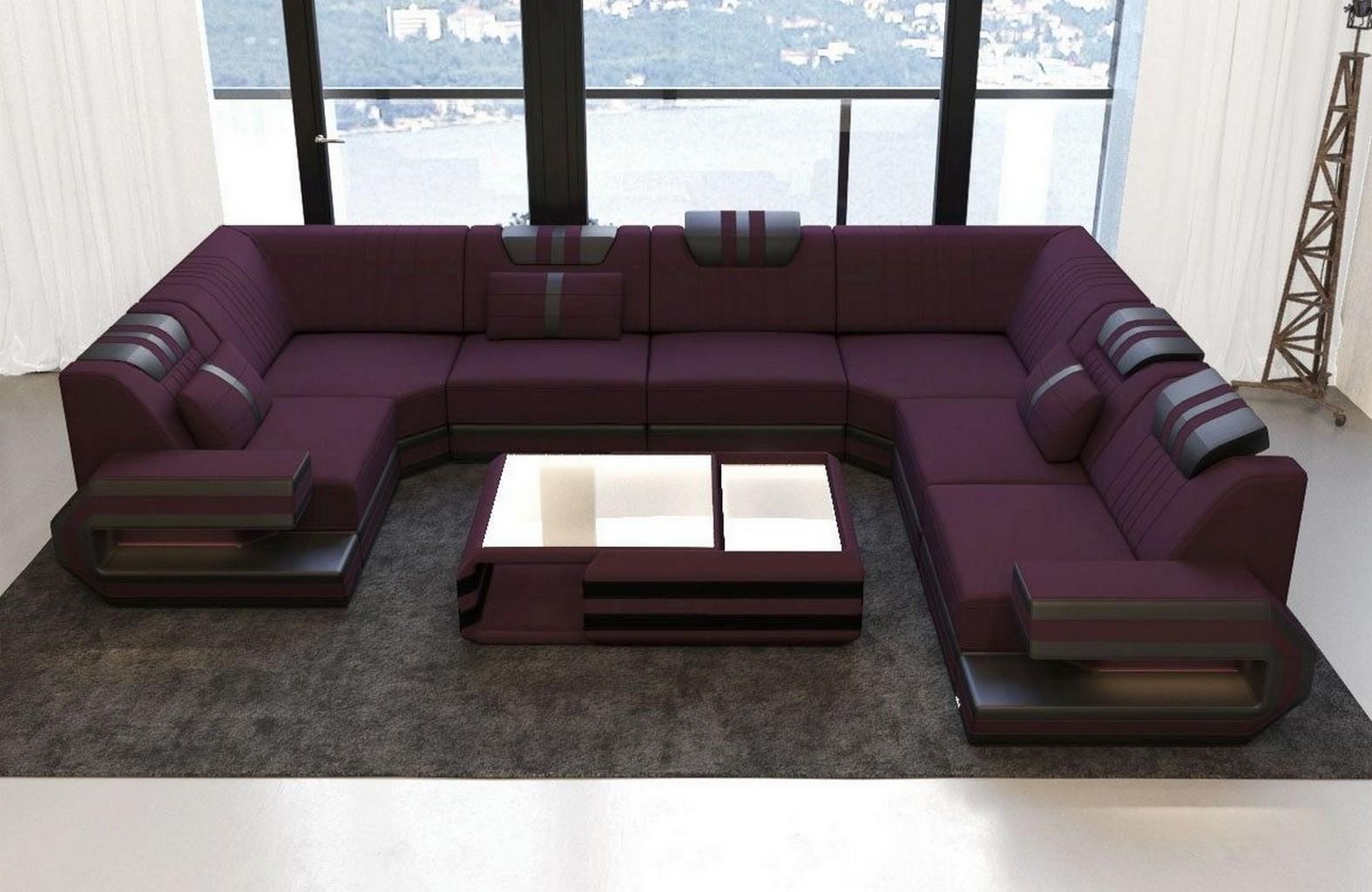 Stoff Wohnlandschaft Ragusa U Form Designer Couch Luxus