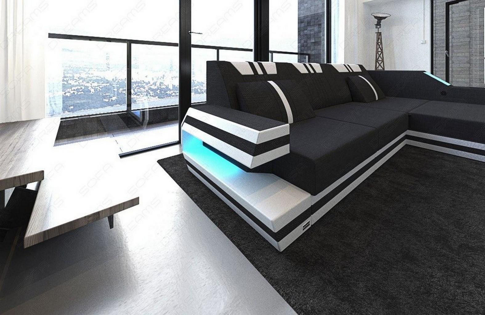 leder stoff mix sofa designersofa ravenna l schwarz couch. Black Bedroom Furniture Sets. Home Design Ideas