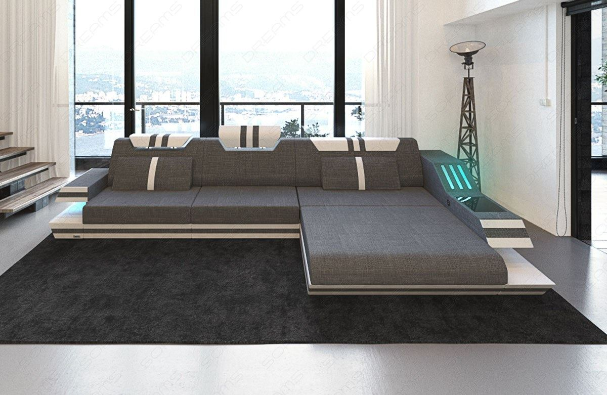 materialmix upholstered sofa ravenna l shape led fabric. Black Bedroom Furniture Sets. Home Design Ideas