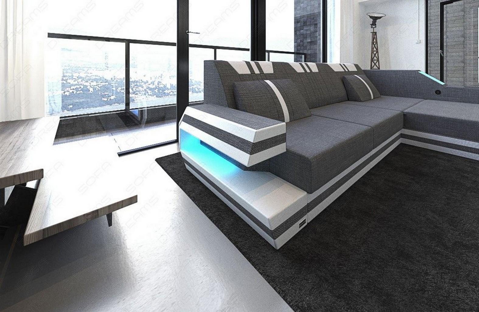 luxus sofa ravenna l grauecksofa mit led beleuchtung und usb im materialmix ebay. Black Bedroom Furniture Sets. Home Design Ideas