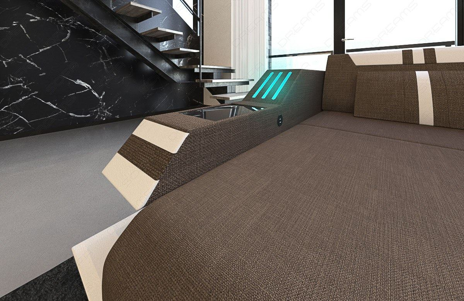 polstersofa ravenna l braun ecksofa mit led beleuchtung. Black Bedroom Furniture Sets. Home Design Ideas