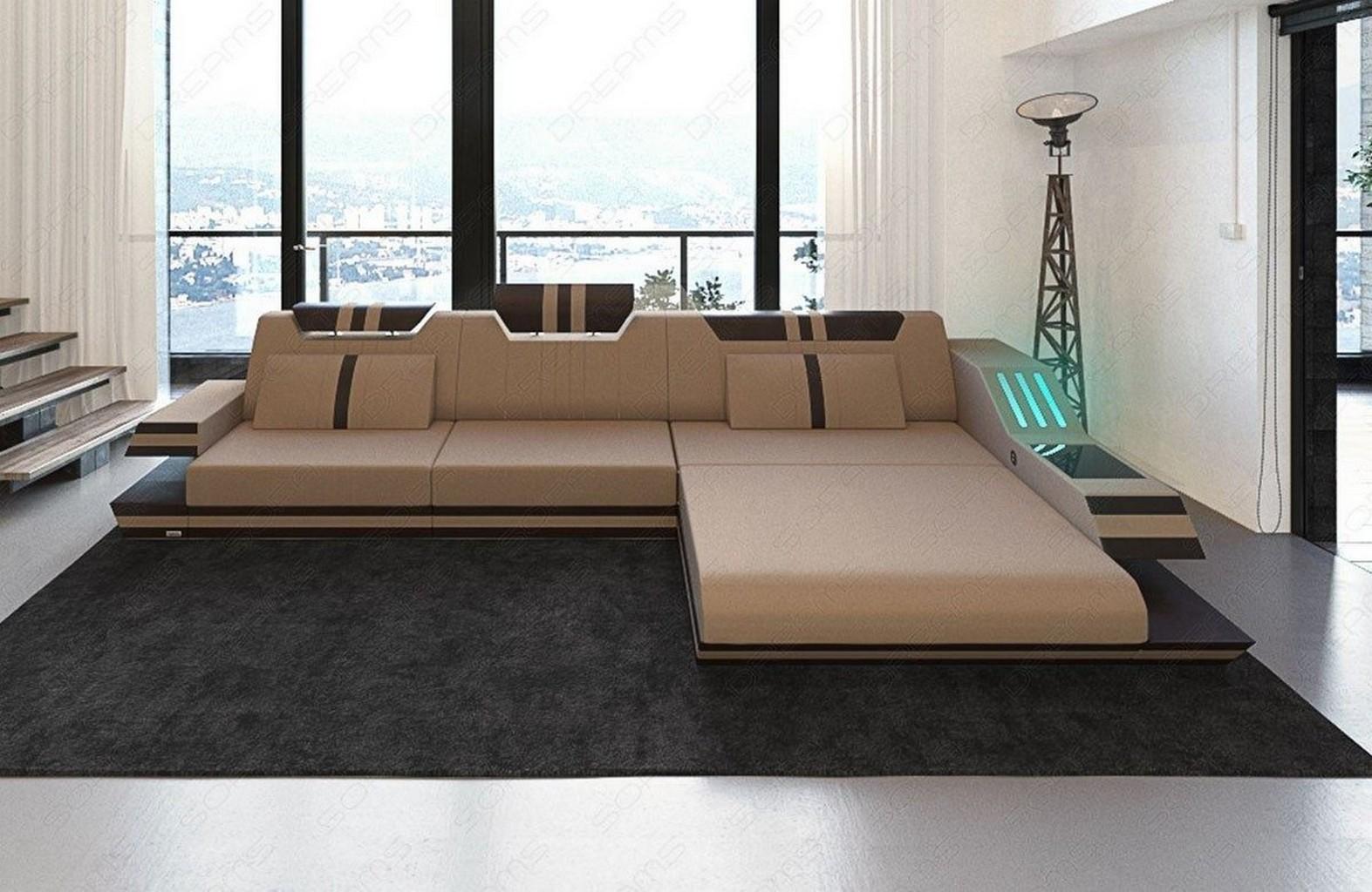 designer eckcouch ravenna l beige stoffsofa mit led beleuchtung im materialmix ebay. Black Bedroom Furniture Sets. Home Design Ideas
