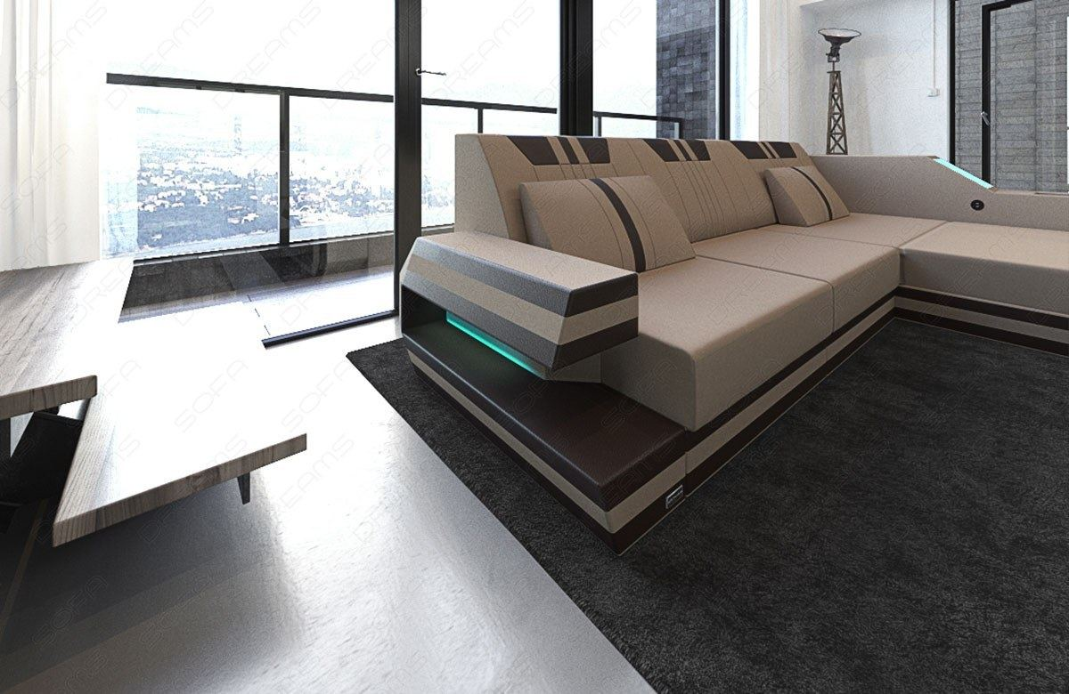 designer eckcouch ravenna l beige stoffsofa mit led beleuchtung im materialmix ebay. Black Bedroom Furniture Sets. Home Design Ideas