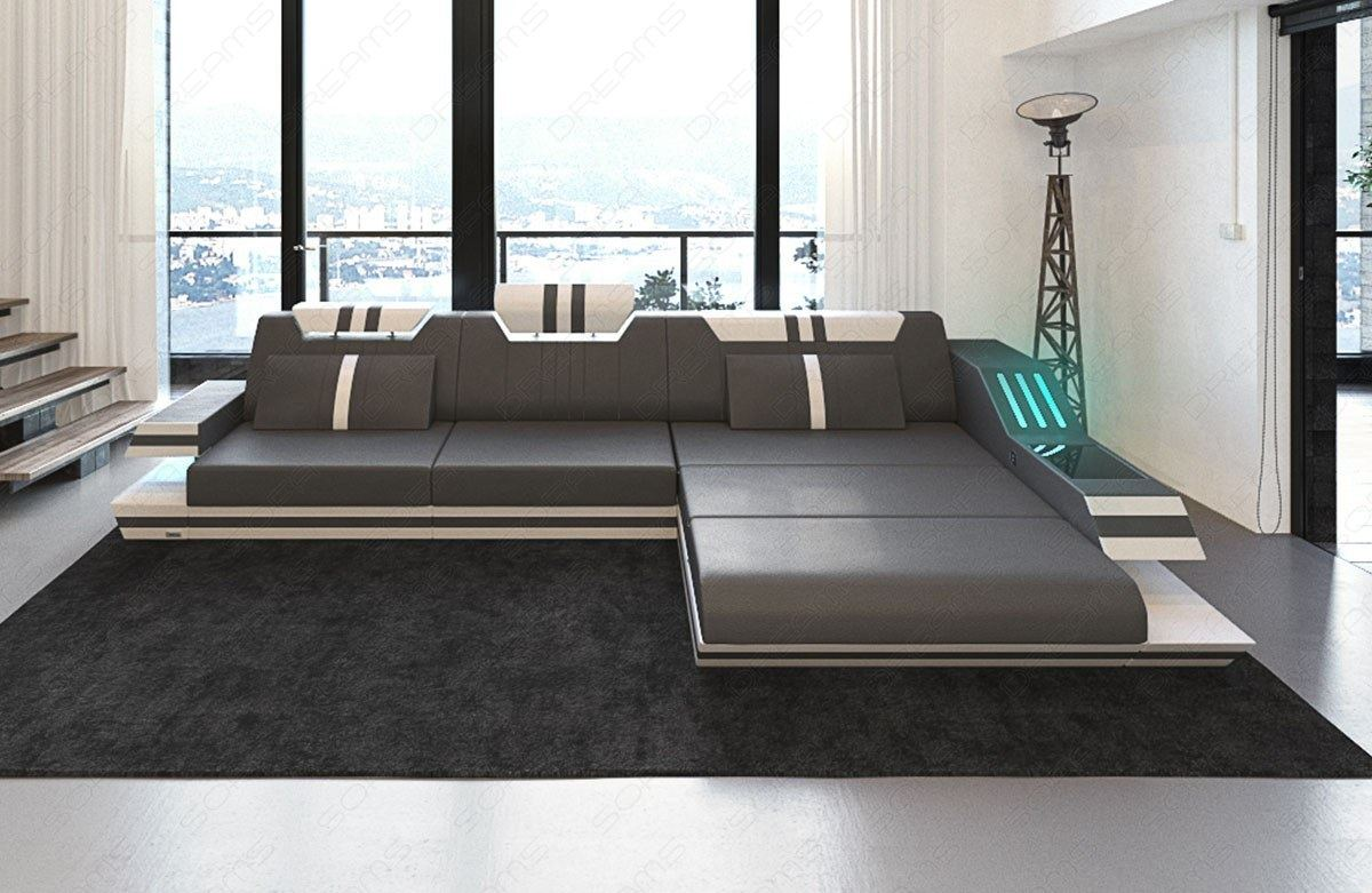 eckcouch ledersofa ravenna l form designsofa mit led beleuchtung usb grau weiss ebay. Black Bedroom Furniture Sets. Home Design Ideas