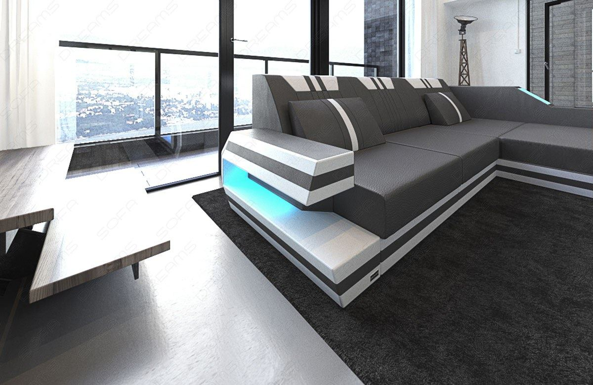 eckcouch ledersofa ravenna l form designsofa mit led beleuchtung usb grau weiss ebay. Black Bedroom Furniture Sets. Home Design Ideas