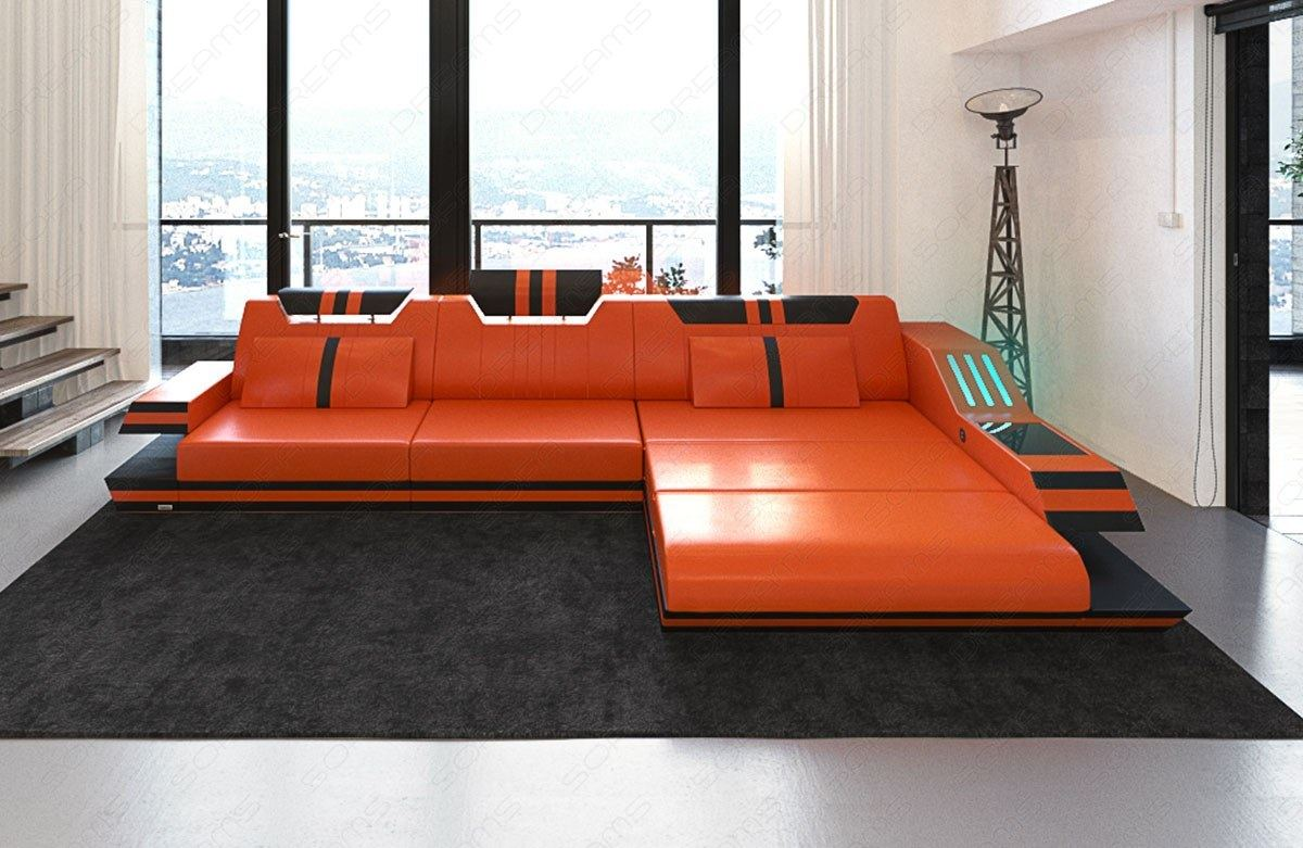 luxus ledercouch ravenna l form ecksofa mit led beleuchtung usb orange schwarz ebay. Black Bedroom Furniture Sets. Home Design Ideas