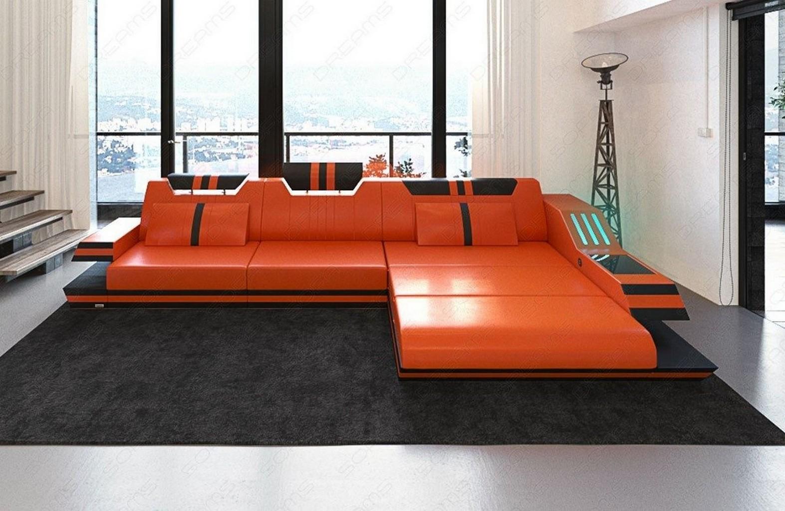 luxus ledercouch ravenna l form ecksofa mit led. Black Bedroom Furniture Sets. Home Design Ideas