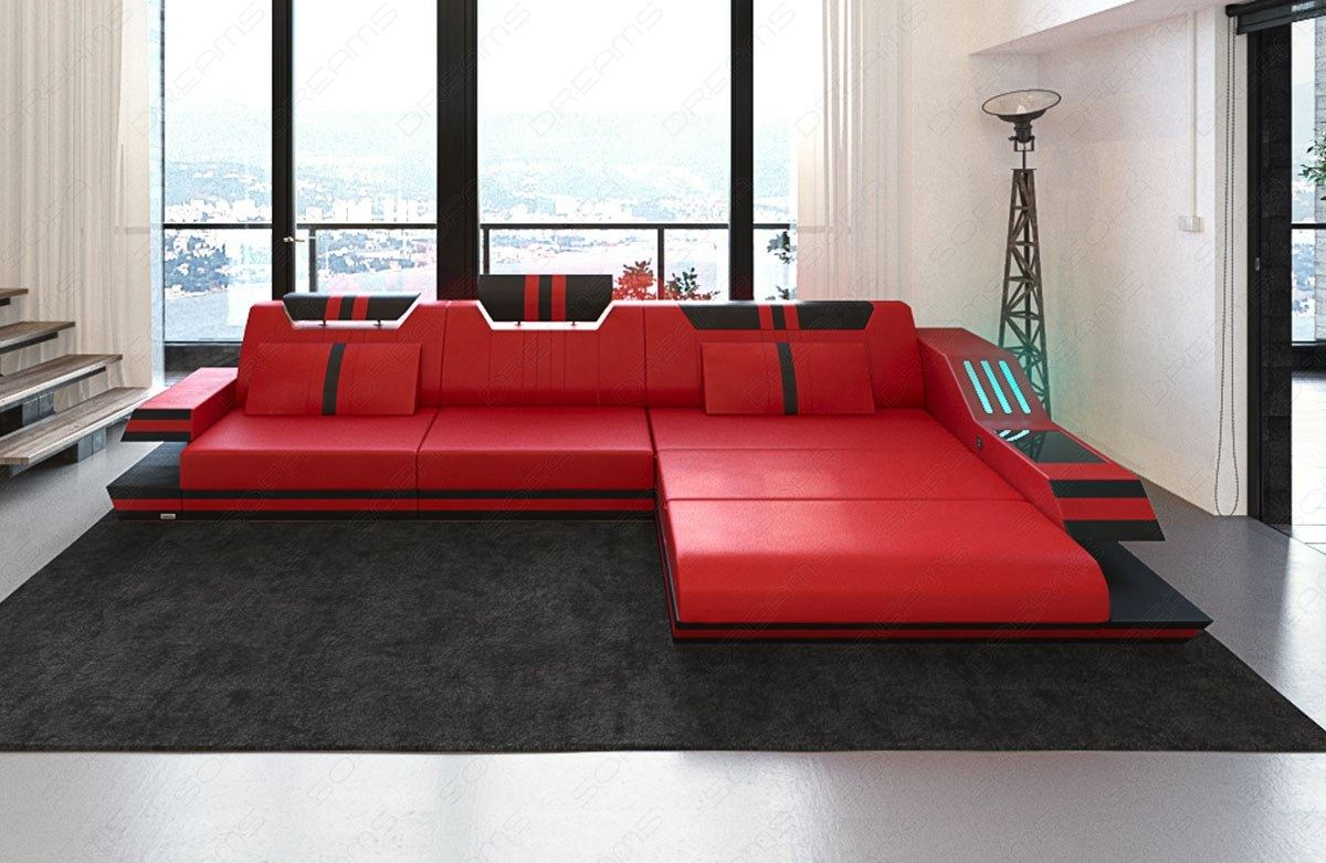 ledersofa ravenna l form luxussofa couch mit led beleuchtung und usb rot schwarz ebay. Black Bedroom Furniture Sets. Home Design Ideas