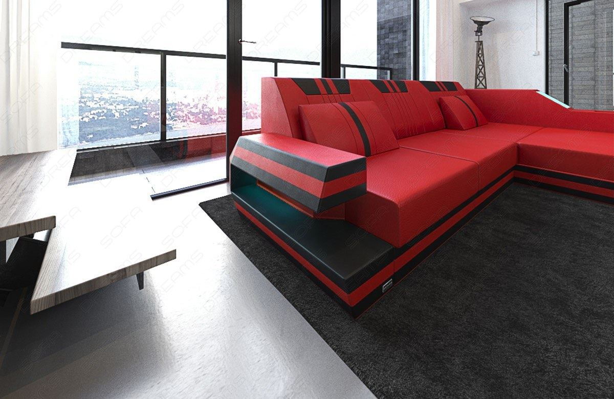 Leather sofa ravenna l shape luxury sofa with led lighting for Couch mit led