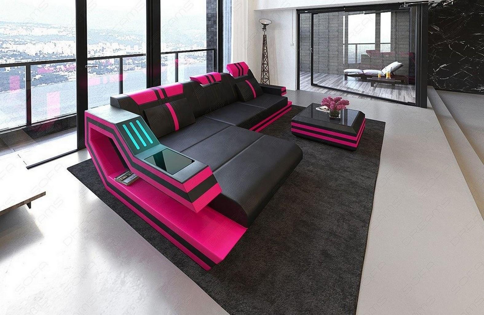 Sectional Sofa Ravenna L Shape Genuine Leather Design Corner Sofa Led  Lights Ebay