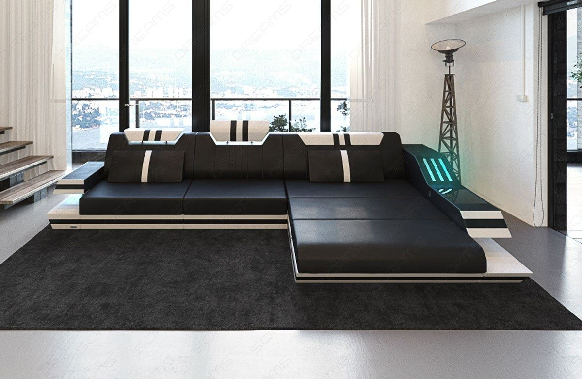 luxus ledersofa ravenna l form led rgb beleuchtung usb ecksofa schwarz weiss ebay. Black Bedroom Furniture Sets. Home Design Ideas