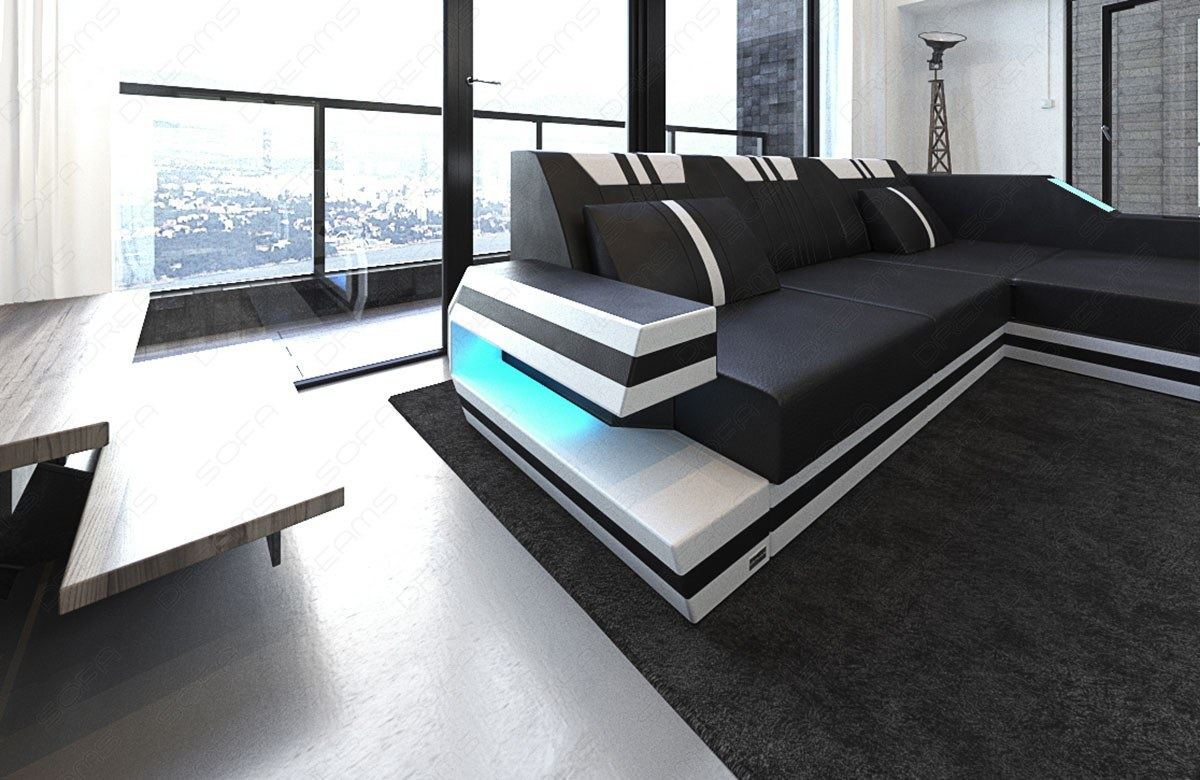luxus couch ledersofa ravenna l form led beleuchtung usb ecksofa schwarz weiss ebay. Black Bedroom Furniture Sets. Home Design Ideas