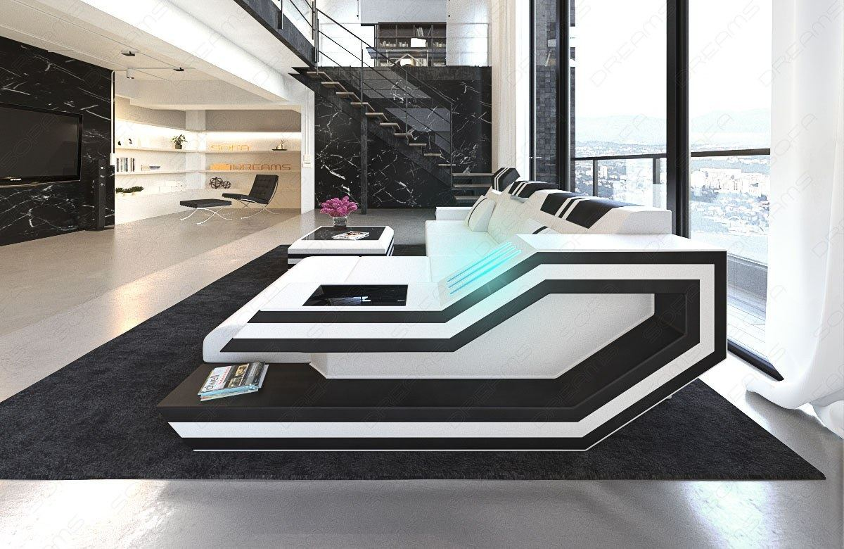 designer ecksofa ravenna l form mit led beleuchtung usb ledercouch weiss schwarz ebay. Black Bedroom Furniture Sets. Home Design Ideas