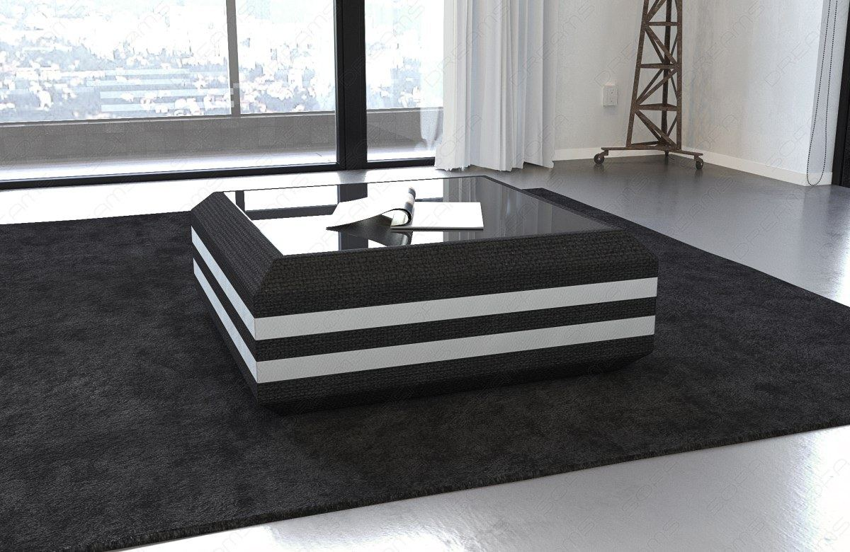 couchtisch beistelltisch stoff ravenna led beleuchtung mit glasplatte tisch ebay. Black Bedroom Furniture Sets. Home Design Ideas