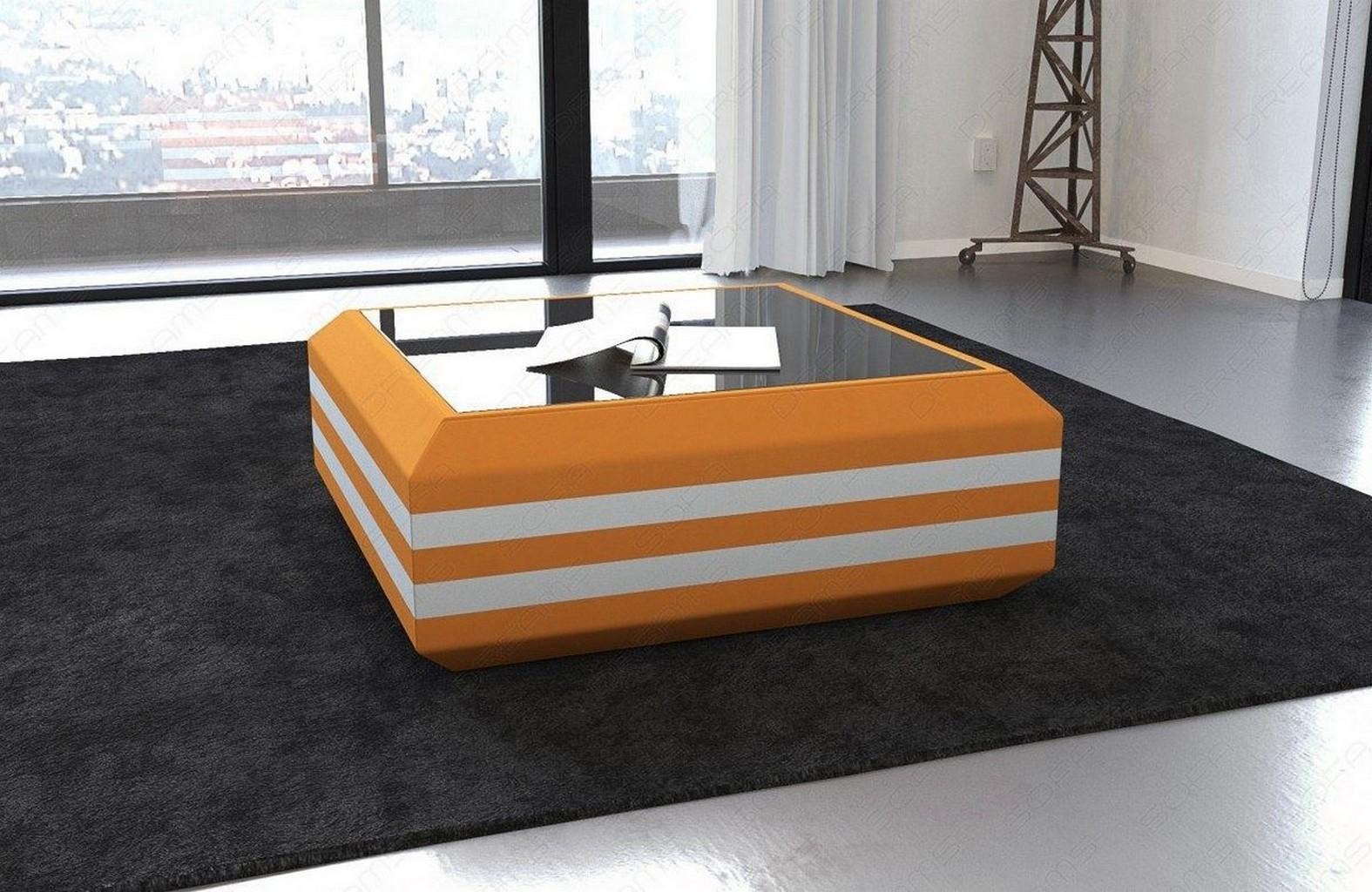 couchtisch beistelltisch stoff ravenna led beleuchtung mit glasplatte tisch ebay. Black Bedroom Furniture Sets. Home Design Ideas