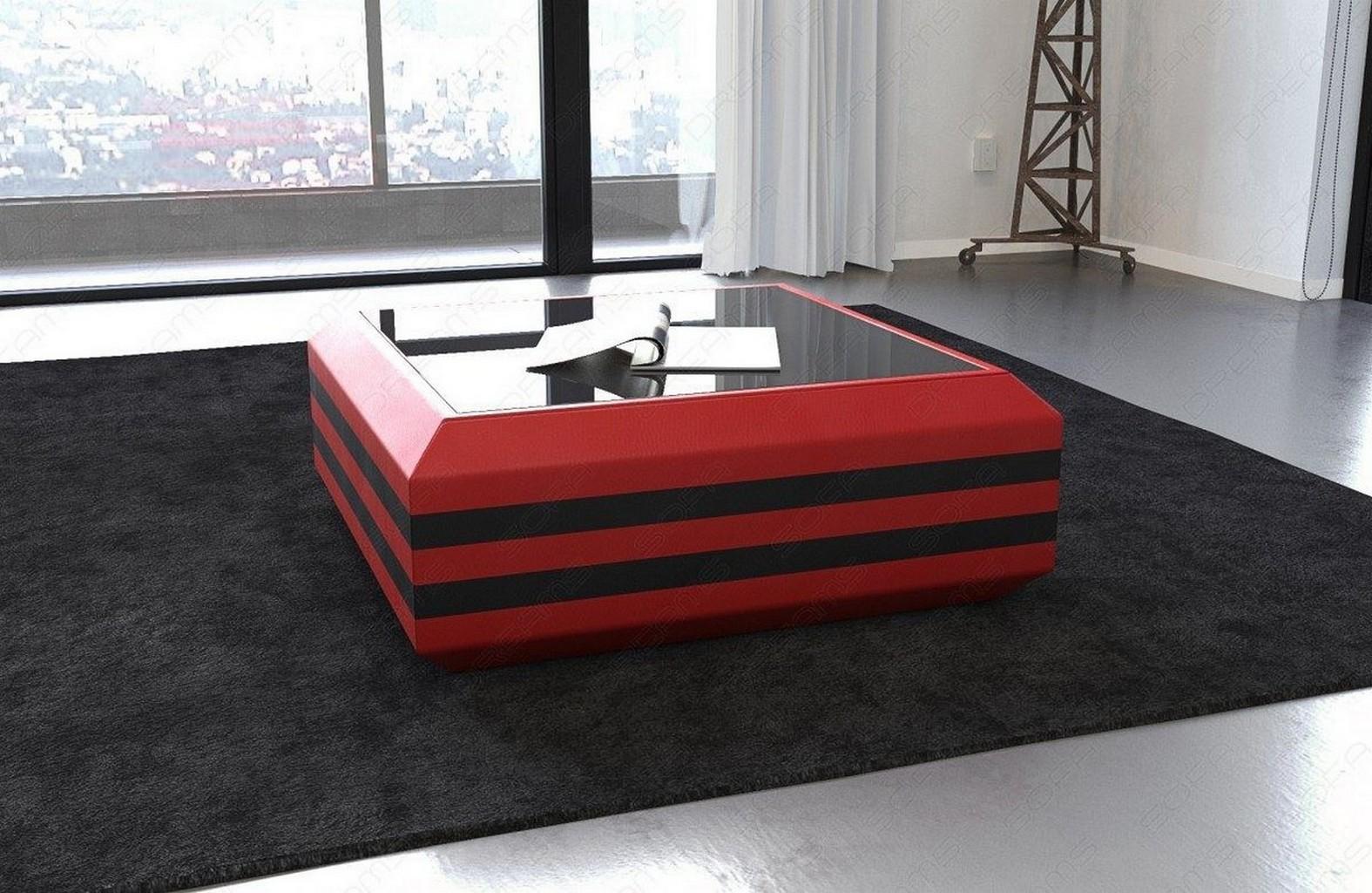 Couchtisch ravenna designer wohnzimmertisch leder versch for Designer couchtisch rot