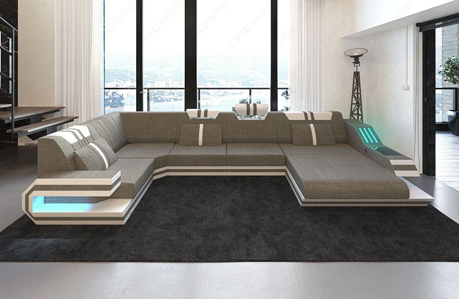 stoff wohnlandschaft ravenna u form mit led materialmix leder stoff polstersofa ebay. Black Bedroom Furniture Sets. Home Design Ideas