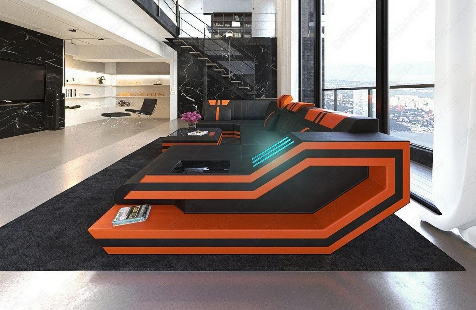 leather sofa interior design ravenna u shape with led. Black Bedroom Furniture Sets. Home Design Ideas